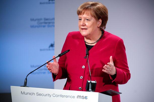 Saksan liittokansleri Angela Merkel oli lauantain odotetuin puhuja.