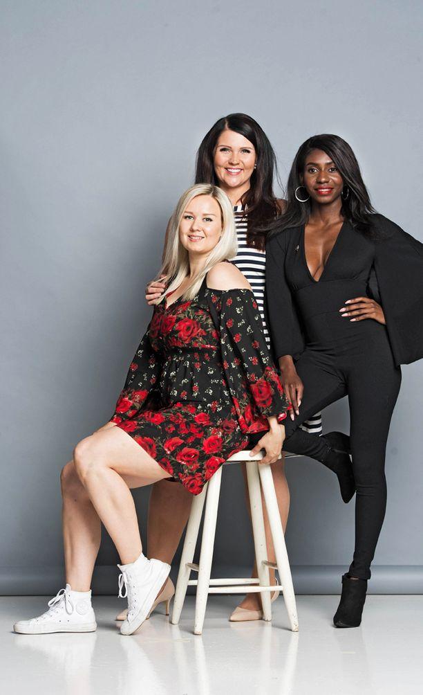 Anni Vallius, Marjaana Lehtinen ja Sephora Lindsay ovat Erilaiset esikuvat -projektin kasvoja.