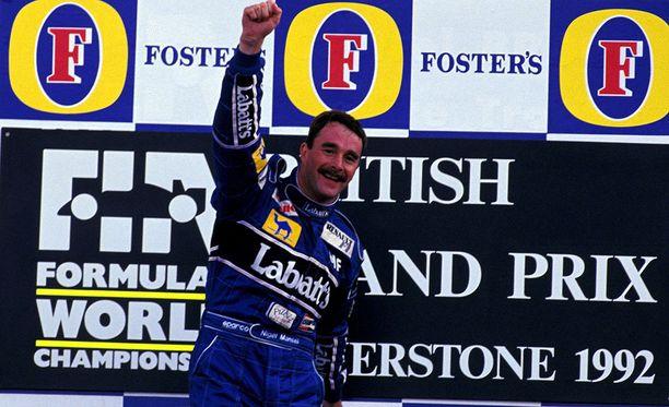 Nigel Mansell voitti vuoden 1992 Silverstonen GP:n. Mika Häkkinen oli yhdeksäs.