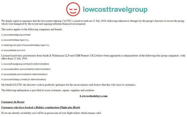 Lowcostholidays.fi-sivu kertoo yhtiön konkurssiin hakeutumisesta.