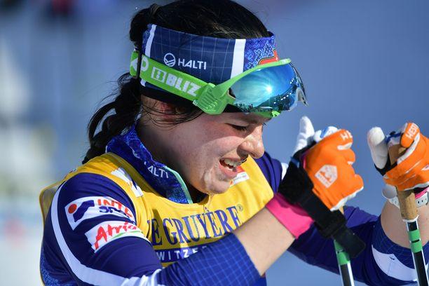 Krista Pärmäkoski hävisi yhdistelmäkilpailun voittajalle Therese Johaugille 1.33,7.