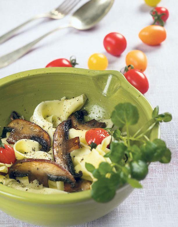 Portobelloa ja pappardelleä – helppoa ja yksinkertaista.