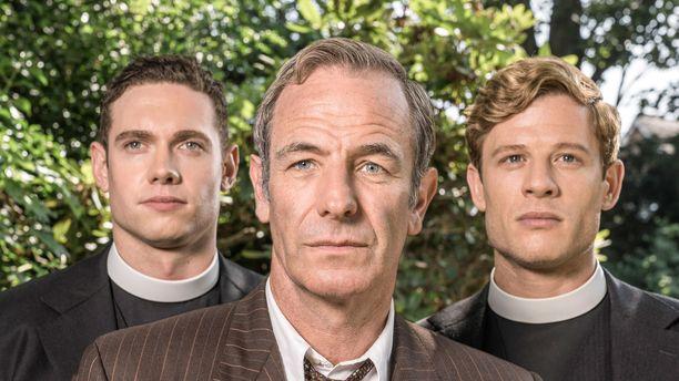 Kuvassa kappalainen Will Davenport, poliisitarkastaja Geordie Keating ja pastori Sidney Chambers.