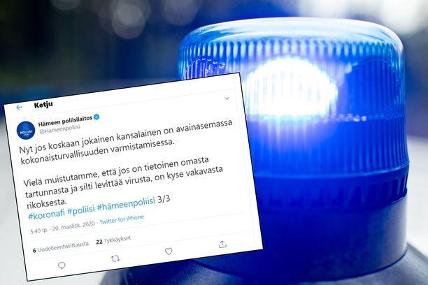Hämeen poliisilaitos varoittaa, että koronan levittäminen tietoisesti on vakava rikos. Kuvayhdistelmä.