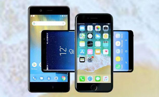 Älypuhelinten näytöt jatkavat kasvuaan. IPhonessa on joukon pienin näyttö, 4,7 tuumaa. Samsungin (kuvassa poikittain) 6,3-tuumainen amoled lähestyy tablettikokoluokkaa.