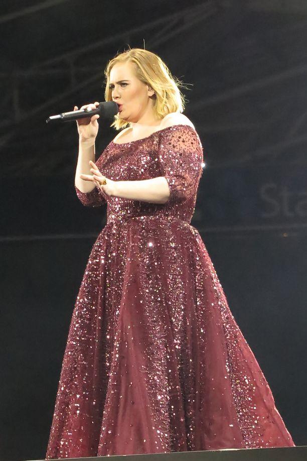Adelen esiintymisasu oli koristeltu kimaltavilla yksityiskohdilla.