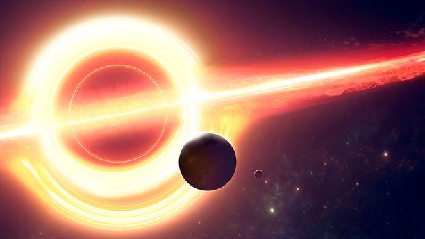 Supermassiivisen mustan aukon vetovoima on niin valtava, että se pystyy poimuttamaan avaruutta. Taiteilijan näkemys mustasta aukosta.
