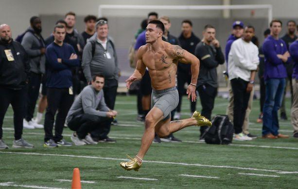 Kovakuntoinen Taylor Rapp esitteli juoksunopeuttaan Washingtonin yliopiston testeissä viime keväänä.