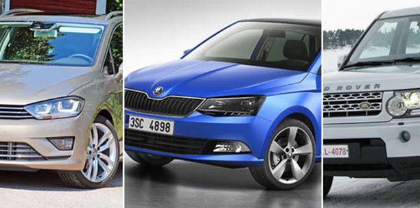 Volkswagen Golf Sportsvan, Skoda Fabia, Land Rover Discovery.