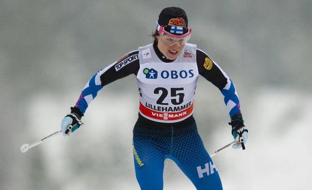 Krista Pärmäkoski oli vedossa vapaan kympillä.