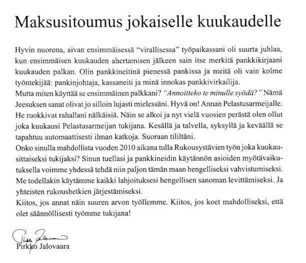 Rukousystävät-lehden ilmoitus vuodelta 2010.