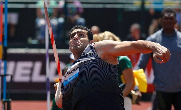 Ihab Abdelrahman linkosi keihäänsä 87,37 metrin päähän heittoviivasta.
