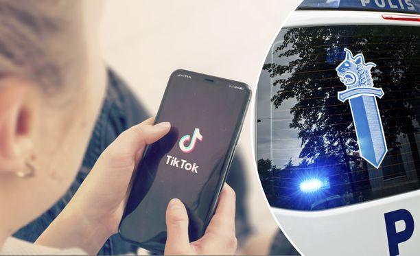 Poliisi on huolissaan uudesta Tiktok-haasteesta. Kuvituskuva.