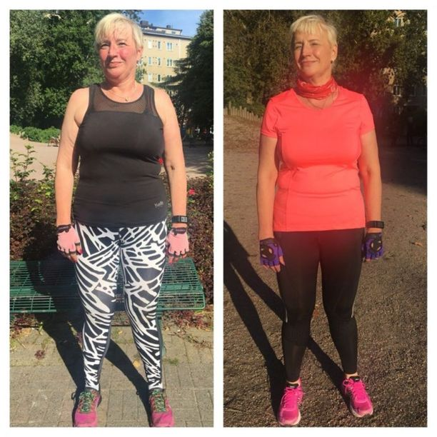 Ulla-Maija jätti alkoholin nauttimisen sadaksi päiväksi. Kuvien välillä on 47 päivää, painoa lähtenyt 5 kilogrammaa.