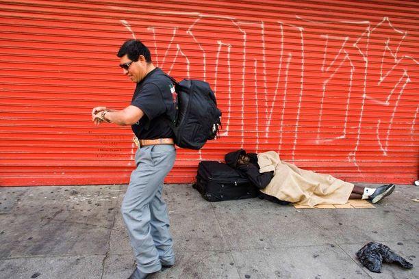 Los Angelesissa Skid Row'n kaupunginosassa elää valtavasti kodittomia. Arkistokuva.