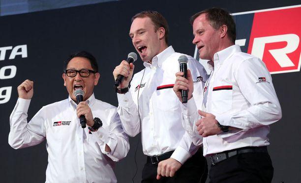 Toyotan pääjohtaja Akio Toyoda ja tallipäällikkö Tommi Mäkinen eivät odottaneet Jari-Matti Latvalan voiton kaltaista menestystä vielä tässä vaiheessa kautta.