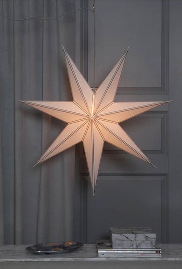 Hillityn valon antaa Kookas Star Hanging Star Nicolas -koristevalo, joka hehkuu kultaisena. Tähti Stockmann.com. Hinta 32,90.