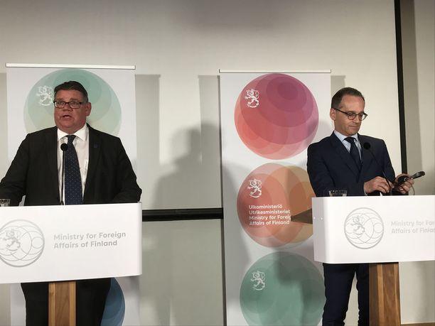 Saksan ulkoministeri Heiko Maas ja ulkoministeri Timo Soini tapasivat Helsingissä ulkoministeriön 100-vuotisjuhlan yhteydessä.