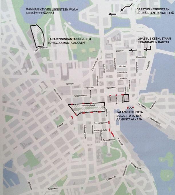 Kartassa merkityt alueet on suljettu sunnuntai-illan ja maanantaiaamun (noin kello 11) välillä. Myös muita katuosuuksia saatetaan sulkea tarvittaessa. Viivoitettu alue on autoton.