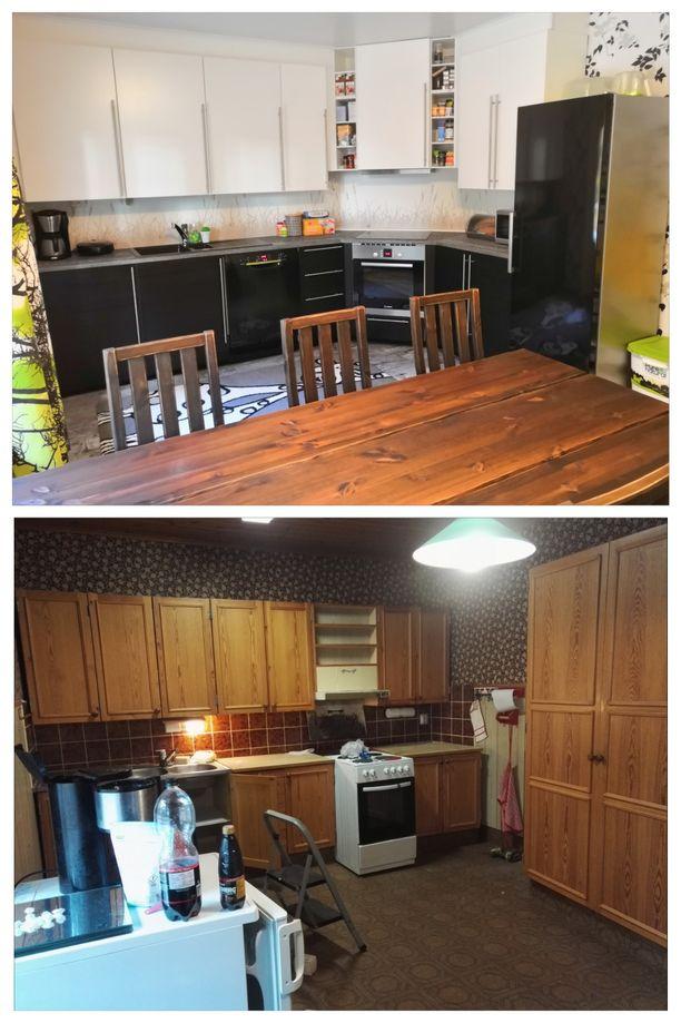 Alla vanha ruskean sävyinen keittiö 70-luvulle ominaisine tapetteineen. Ylhäällä Mikon ja Annan uusi keittiö, jossa on yhdistetty tyylikkäästi mustaa ja valkoista. Ruokapöytä on akaasiapuuta.