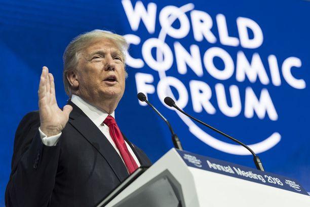 Yhdysvaltain presidentti Donald Trump esiintyi Maailman talousfoorumissa Sveitsin Davosissa 26. tammikuuta.