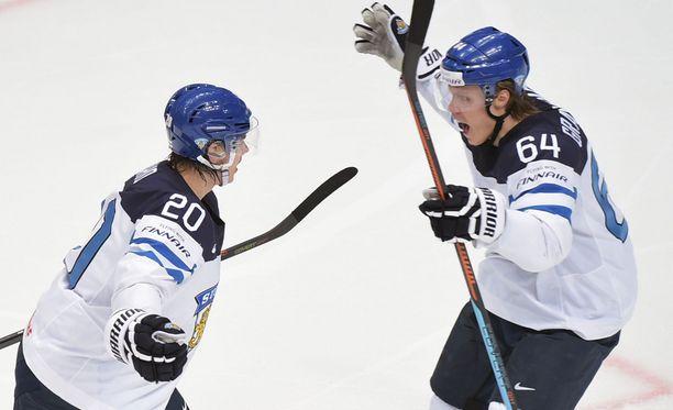Sebastian Aho ja Mikael Granlund tuulettivat MM-kisoissa.