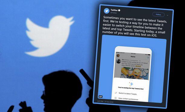 Osa Twitter-käyttäjistä voi nyt muuttaa tviittien järjestystä.