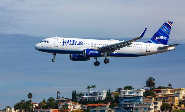JetBluen lento oli matkalla Dominikaanisesta tasavallasta New Yorkiin, kun se teki hätälaskun Washingtoniin. Arkistokuva.