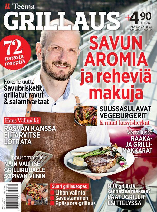 Grillaus-lehdestä löytyy runsaasti reseptejä ja ideoita. Grillivinkkejään paljastaa muun muassa kansikuvan Hans Välimäki.