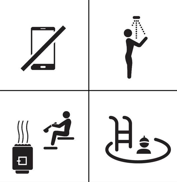 Kännykkä hiljaiselle, suihku, puusauna löyly ja avanto.