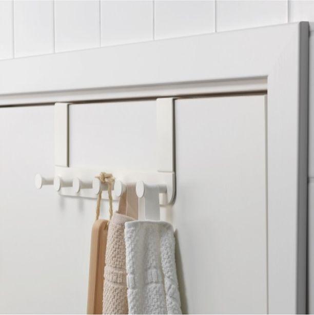 Ikean Enudden-sarja on suunniteltu erityisesti kylpyhuoneisiin, mutta miksi ovinaulakko ei toimisi myös makuuhuoneessa. Ovh. 3,99.