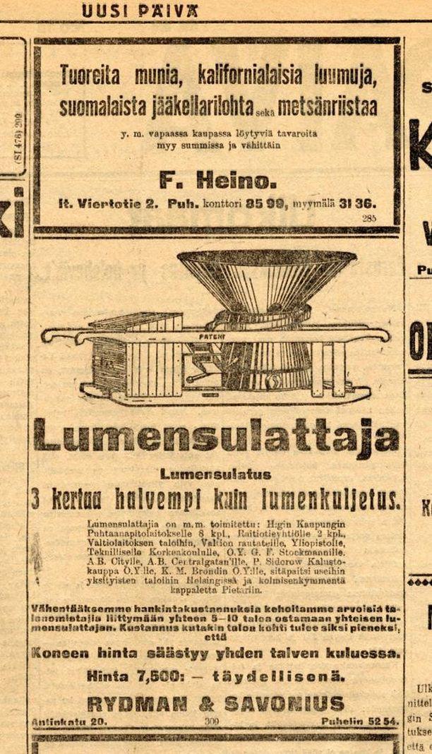 """Uusi Päivä -lehden ilmoitus ensimmäisen maailmansodan ajoilta. """"Kolme kerta halvempaa kuin lumenkuljetus"""" todetaan mainoksessa. Yhtiön osakkaista toinen oli kansanedustaja Wille Rydmanin (kok) sukulainen."""