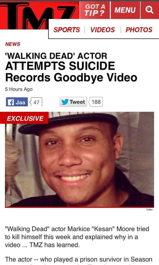 """Uutissivusto TMZ kertoi Markice """"Kesan"""" Mooren itsemurhayrityksestä."""