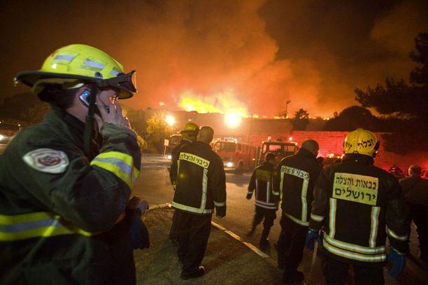 Palomiehet kävivät epätoivoista taistelua tulta vastaan Tirat Hacarmelissa Pohjois-Israelissa.
