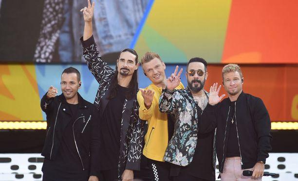 Backstreet Boys eli Howie D, Kevin Richardson, Nick Carter, A. J. McLean ja Brian Littrell keikalla tämän vuoden heinäkuussa (arkistokuva).