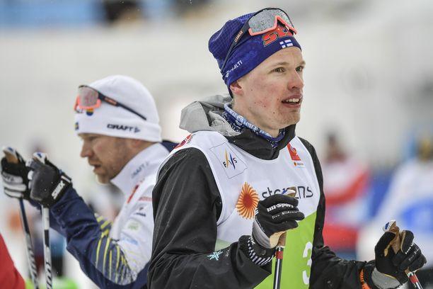 Iivo Niskanen harjoitteli perjantaina Seefeldissä.