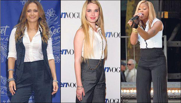Jennifer Lopez, Kristen Prout ja Eve näyttävät mallia syksyn housumuodista.