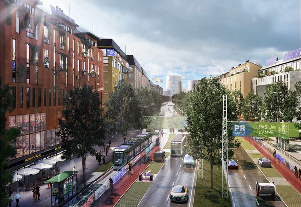 Bulevardiosuus on visioitu hyvin kaupunkimaiseksi.