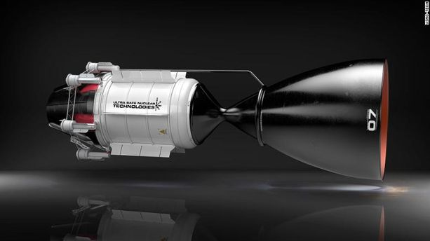 Uraania polttoaineenaan käyttävän raketin voimaosa on vain noin neljä metriä pitkä.