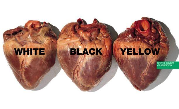 Kaikilla on samanvärinen sydän, julisti Benetton 1996.