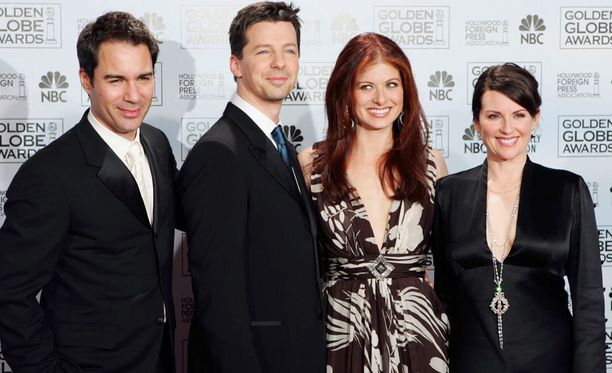 Sarjan päärooleissa nähdään Eric McCormack (vas), Sean Hayes, Debra Messing ja Megan Mullally.