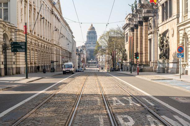 Brysselin kadut ovat autioita koronaviruksen takia.