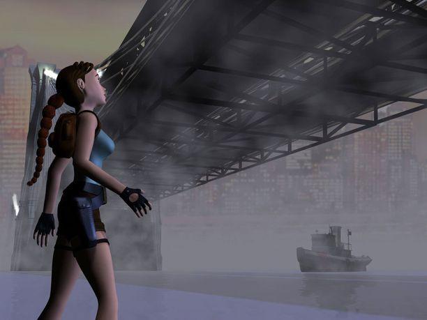 Lyhyet shortsit ja vartalonmyötäinen turkoosi toppi kuuluivat pitkään Lara Croftin tavaramerkkiin. Kuva vuonna 2000 julkaistusta Tomb Raider Chroniclesista.