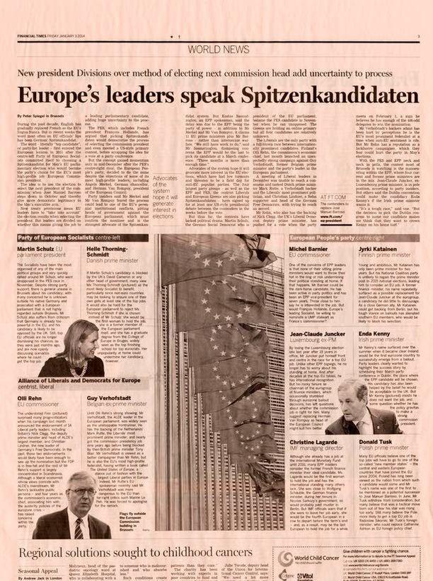 Komissaari Olli Rehn esiintyy FT:n jutun printtiversiossa kuvalla, Katainen saa tyytyä tekstiboksiin. Komission puheenjohtajalla on lehden mukaan EU:ssa kaikista korkein profiili (EU's most high-profile job).