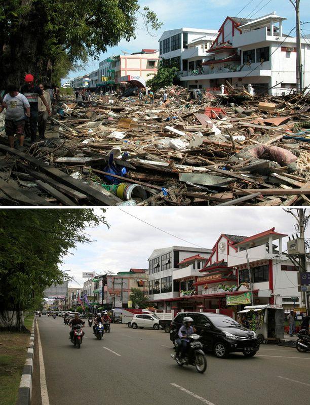 26. joulukuuta 2004 ja 18. joulukuuta 2014 Panglima Polem Street, Banda Aceh, Indonesia.