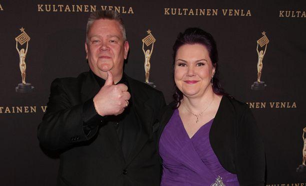 Heli juhli Kultainen Venla -gaalassa tammikuussa lempivärissään violetissa.