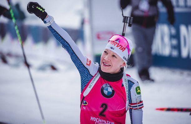Kaisa Mäkäräinen on voittanut kolme neljästä tuoreimmasta ampumahiihdon maailmancupin osakilpailusta.