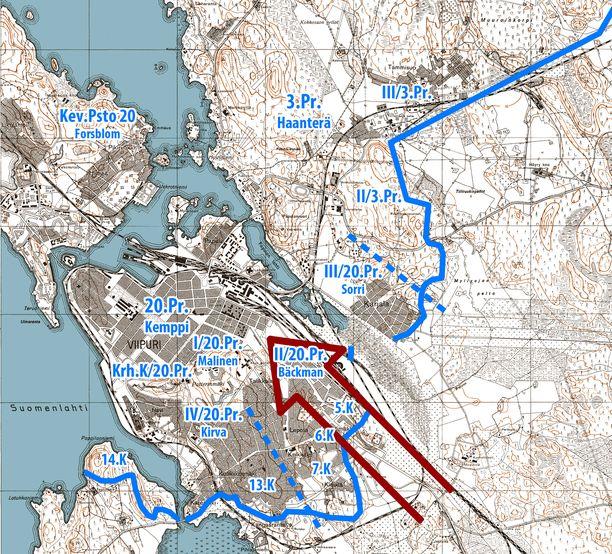 Neuvostojoukkojen hyökkäys ajoi suomalaiset Viipurista lyhyen taistelun jälkeen.