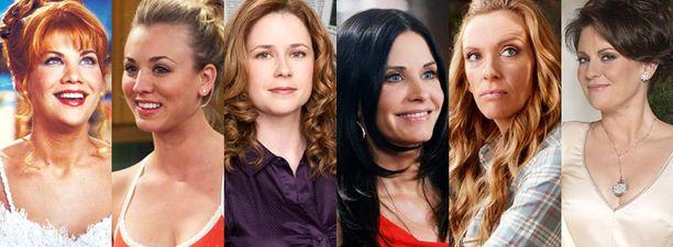 Vasemmalta oikealle: Kristen Johnston, Kaley Cuoco, Jenna Fischer, Courteney Cox, Toni Collette ja Megan Mullally.