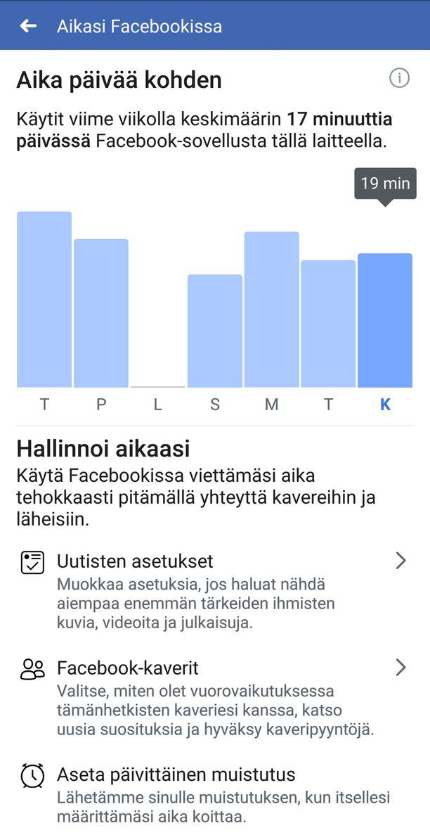 Aikasi Facebookissa -toiminto tarjoaa viikkonäkymän.
